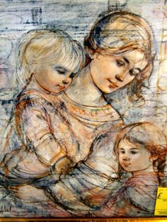 "I grew up seeing my Nanny's beautiful Hibel art as a child, I'm not a collector like my sister, but blessed to have a few of her pieces after she passed. Love the symbolic love between a mother and her children""...I love being a Mommy!!! ~~Edna Hibel ...""Mother and two Children""  liveauctioneers.com"