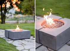 Bravo Dekko Concrete Gas Firepit. Add colored glass gemstones instead of wood or rocks! http://www.firecrystals.com/category-s/12.htm