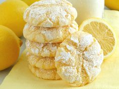 Lemon Gooey Butter Cookies ~ Deliciousness made with all-natural flavoring - triple lemon! Melt-in-your-mouth Lemon Gooey Butter Cookies at their finest and from scratch. Buttery, light and tender-crumbed, sweetened just right and bursting with lemon flav Gooey Butter Cookies, Lemon Sugar Cookies, Yummy Cookies, Lemon Crinkle Cookies, Lemon Drop Cookies, Bakery Butter Cookie Recipe, Cream Cheese Lemon Cookies, Lemon Butter Cookies Recipe, Snacks