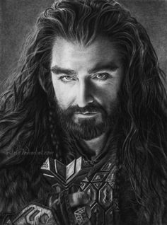 Thorin Oakenshield by Esteljf.deviantart.com. // This is a DRAWING. I thought it was a black & white photo at first glance...