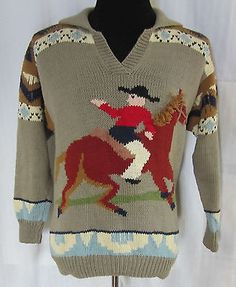 Amino Sweater Horse Cowboy Equestrian SZ Med Tan NWT