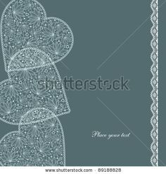 Card with lace hearts. Vector illustration. Love - stock vector