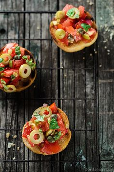 Crostini With Tomatoes Olives And Capers