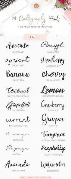 10 Must-Have Romantic Fonts -- good options for a signature tattss