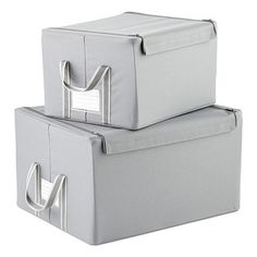 In 3 Sizes. Store clothing, accessories, toys and other items in our fabulous Fabric Storage Boxes by reisenthel. Each box features a neutral cloth cover and a reinforced bottom for added strength. The lid features a zippered closure in addition to a flap with a hook-and-loop fastener.