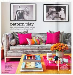 Pattern play in a colorful living room - Daily Dream Decor