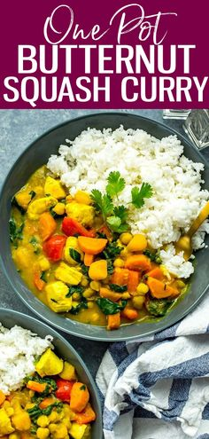 This One Pot Butternut Squash Chicken Curry with coconut milk