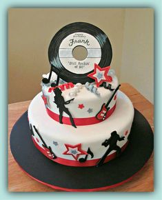 Rock and Roll Cake - Bing Images Music Themed Cakes, Music Cakes, Elvis Birthday, 60th Birthday Cakes, Bolo Musical, Elvis Cakes, Disco Cake, Rock And Roll Birthday, Novelty Cakes