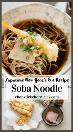 Toshikoshi soba noodle recipe for crossing over into the New year. Starting the new year with a clean slate by eating this delicious Toshikoshi soba. #toshikoshisoba #sobanoodlerecipe #yearcrossingsobanoodle #newyearnoodles Japanese Soba Noodle Recipe, Japanese Soba Noodles, Asian Recipes, Easy Recipes, Easy Meals, Cooking Recipes, Ethnic Recipes, Japanese Street Food, Japanese Food