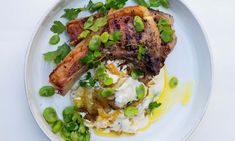 Unhurried onions: grilled lamb, broad beans and soured cream.
