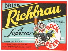 1930s Richbrau Bock Beer label Richmond VA