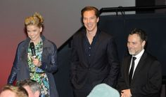 "Alice Eve, Benedict Cumberbatch and Bryan Burk speak during a Q prior to footage screening of ""Star Trek-Into Darkness"" at the BFI IMAX on December 14, 2012 in London, England."