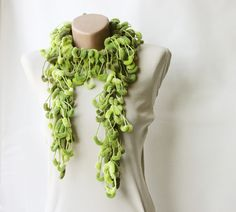 Marbled green forest curly mulberry scarf