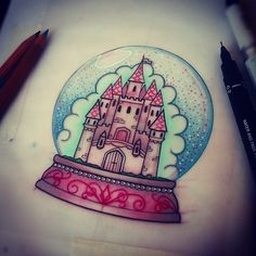 Just a couple of adjustments to make them this ones ready for Katie, looking forward to it! :) #tattoo #design #drawing #castle #globe #neotraditional #LadyTattooers #plymouth