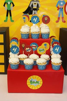 Superheroes birthday party cupcake stand! See more party planning ideas at CatchMyParty.com!