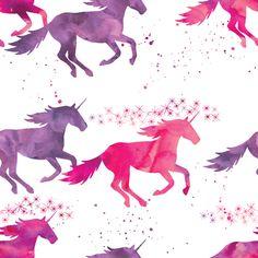 watercolor unicorns || pink & purple multi colored by littlearrowdesign
