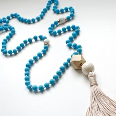 Boho Hippie Rosary Necklace | Glass & Lava Beads | Rubber Coated | Beige Handmade Tassel | Wood Bead