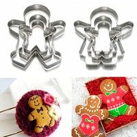 Wish   3pcs Christmas Ginger Bread MAN WOMAN BOY GIRL Cake Pastry Cookie Biscuit Cutter