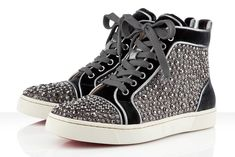 Perfetta combinazione di strass e tema Optical a contrasto B/N da Christian Louboutin Strass Sneakers