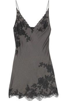 Carine Gilson Lace appliqued silk satin chemise