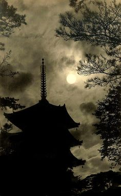 """PAGODA UNDER MOON (This image is one of several examples of a largely ignored facet of Old Japanese Photography -- a genre called """"TAISHO ART"""" or """"TAISHO PICTORIAL PHOTOGRAPHY"""". The pictorialism movement in Japan reached its peak during the reign of EMPEROR TAISHO (1912-26), thus the name attached to the genre.)"""