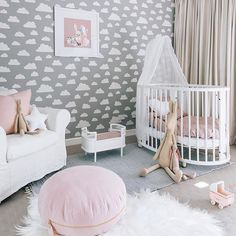 Lost in the clouds.  This little nursery is one of the most dreamy rooms we've ever seen! Annabelle is one very lucky little lady. Thanks so much for including us in this gorgeous space @oh.eight.oh.nine and @scandikid X  #nursery #nurserydecor #nurseryinspo #girlsroom #gurlsroomdecor #girlsroominspo #scandi #interiors #valentinefloorcushion #blush #feather #floorcushion #floorcushions #personalised #keepsakes #madewithlove #littleconnoisseur