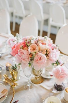 Toronto Wedding at the Burrough's Building from Mango Studios + Melissa Andre Events Peonies Centerpiece, Pink Centerpieces, Wedding Table Centerpieces, Floral Wedding, Wedding Bouquets, Wedding Flowers, Gold Wedding, Wedding Shoes, Flower Decorations