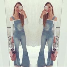 Flare Jeans Outfit, Jeans Flare, Overalls Outfit, Denim Overalls, Dungarees, Swag Outfits, Cool Outfits, Casual Outfits, 80s Fashion