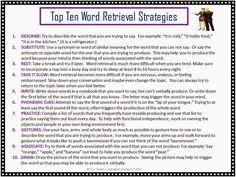 Twin Speech, Language & Literacy LLC: TOP TEN LIST: Word Retrieval Strategies