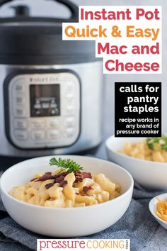 This Instant Pot Mac and Cheese is SUPER easy and made using just pantry staples, spices, and shredded cheese. (If you have bacon on-hand, it's an amazing addition.) You would never guess that the sauce uses canned ingredients! Instant Pot Mac And Cheese Recipe, Easy Mac And Cheese, Macaroni And Cheese, Pressure Cooker Recipes Pasta, Instant Pot Pressure Cooker, Pressure Pot, Instant Pot Veggies, Homemade Cheese Sauce, Pressure Cooking Today