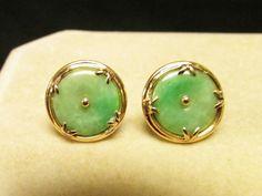 Vintage Mings of Honolulu  14KT Gold Apple Green Bi or Pi Jade Earrings by Alohamemorabilia on Etsy
