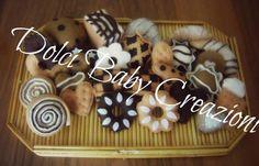 Portachiavi biscotti e brioches in feltro e pannolenci