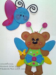 "My cute ""BUTTERFLY BEAR"" paper piecing.  Roxcraftroom"