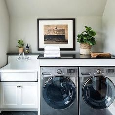 Gray Slate Herringbone Tiles with Apron Laundry Room Sink