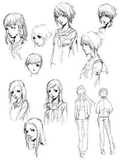 Yukiko Amagi Sketches from Shin Megami Tensei: Persona 4