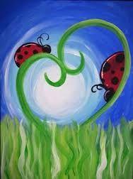 Cute beginner painting idea, ladybugs on heart shaped swirly grass.