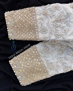 Stunning pearl white color designer blouse sleeves with floret lata design hand embroidery gold thread and bead work. To get your outfit customized visit us at Chennai. Wedding Saree Blouse Designs, Pattu Saree Blouse Designs, Fancy Blouse Designs, Wedding Blouses, Hand Work Blouse Design, Stylish Blouse Design, Blouse Designs Catalogue, Sleeve Designs, Chennai