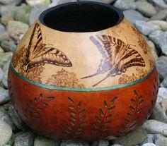 Swallowtail Butterfly Gourd Vase by JRAGourdArt on Etsy, $125.00