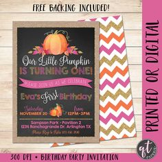 Our Little Pumpkin Is Turning One Invitation Girl Fall Birthday