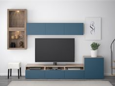 BESTÅ TV storage combination/glass doors - white stained oak effect, Selsviken high-gloss/white clear glass - IKEA Besta Tv Bank, Wall Unit Designs, Soft Closing Hinges, Tv Bench, Frame Shelf, Ikea Family, Living Room Tv, Glass Shelves, Interior Accessories