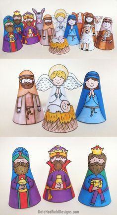 """My Nativity"" printable nativity cone character craft - just print, cut out, roll and stick! A fun craft for the kids this Christmas!"