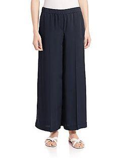 Theory Raoka Silk Wide-Leg Pants - Deep Navy - Size S
