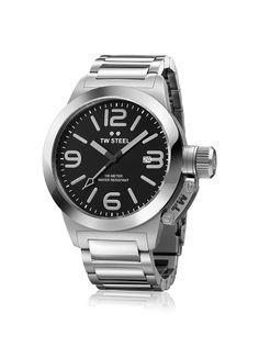 TW Steel Men's TW300 Canteen Black Stainless Steel Watch.