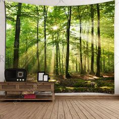 Forest Sunlight Decorative Wall Hanging Tapestry - Green W91 Inch * L71 Inch Mobile