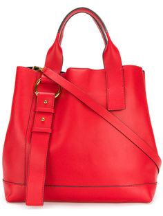 Marni - Halo Pod tote bag - women - Calf Leather - One Size, Red, Calf Leather Leather Purses, Leather Handbags, Designer Totes, Red Handbag, Red Purses, Tote Handbags, Tote Bags, Backpack Purse, Calf Leather