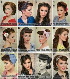 Retro Hair Tutorial Round-up with lots of different styles and great step-by-step tutorials on how to do them. From 40s and…