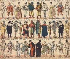 Masks and Characters of the Commedia dell'Arte (detail; 19th century) © Victoria and Albert Museum
