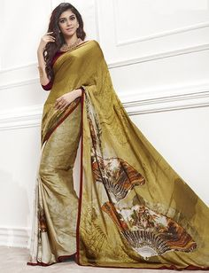 Shades Of Mehendi Green Color Crepe Digital Print Party Wear Sarees : Aradhya Collection YF-33481