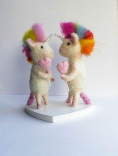 Unique wedding cake topper,unicorn cake topper,same sex wedding topper,felted rainbow unicorns.ready to ship by WaggledanceArt on Etsy