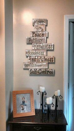 Wooden Pallet Projects The Fruit of the Spirit Decoration - Rustic wood sign ideas share the aesthetic you love, and they all offer an inspiring message. Find the best designs and brighten up your home! Wooden Pallet Projects, Wooden Pallet Furniture, Pallet Crafts, Pallet Art, Pallet Signs, Wooden Pallets, Wood Crafts, Pallet Ideas, Lawn Furniture